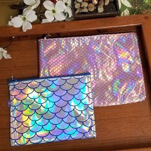 Bundle of 2 Mermaid Holographic Cosmetic Bags